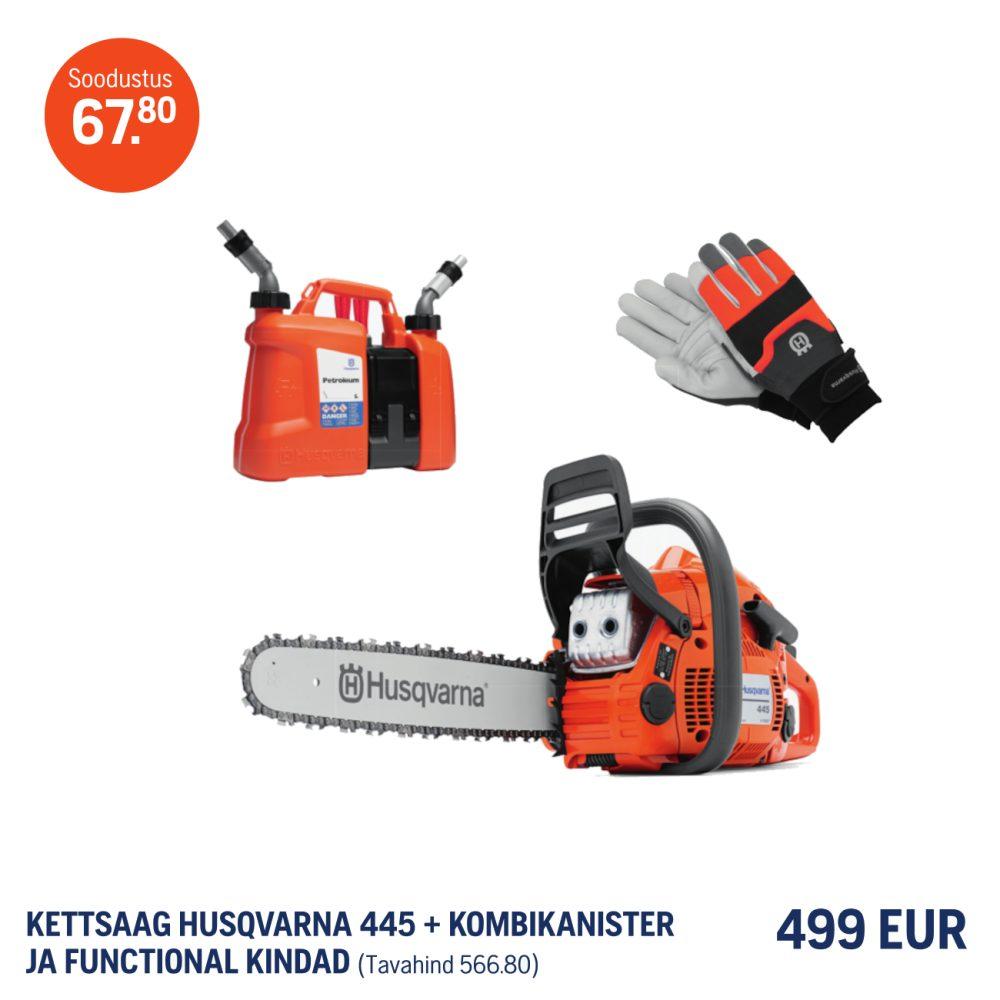 Husqvarna 445 II+Functional kindad+Kombikanister