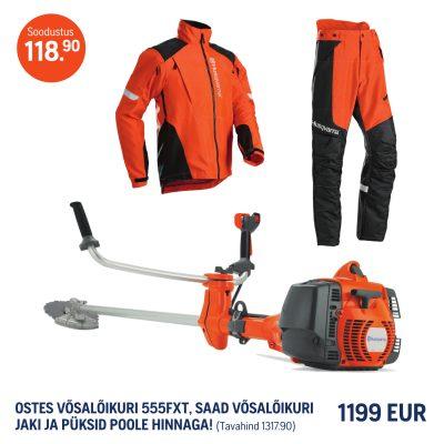 Husqvarna 555FXT+Võsalõikaja püksid ja jakk